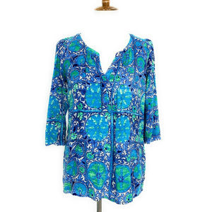 Plenty By Tracy Reese Blouse Henley Shirt XS Blue